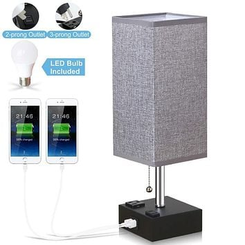 Lifeholder Bedside Lamp, Table Lamp with Daylight White LED Bulb, Unique Desk Lamp Built in Dual USB Charging Port & Power Outlet, Ambient Nightstand Lamp Perfect for Bedroom, Living Room or Office 4.8*4.8*15.4 Inches Gray Lamps