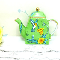 Miniature Teapot with Lid, Hummingbird Pattern, Spring Green, Yellow Flowers, Leonardo Collection, Gilding, Hand Finished, Cottage chic
