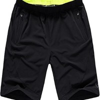 jeansian Mens Quick-Dry Casual Sport Short Pants Black&GreenYellow 4 Sizes LSS138
