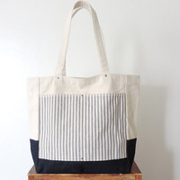 Ticking Stripe Tote Bag SALE