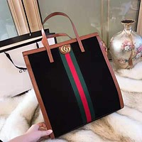 GUCCI High Quality New Fashionable Women Leather Golden GG Logo Stripe Handbag Tote Shoulder Bag Brown