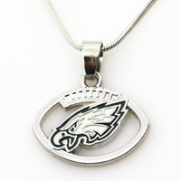 New Arrival 10pcs/lot Philadelphia Eagles Football Team Necklace Pendant Jewelry With 45+5cm Snake Chains DIY Jewelry Charms