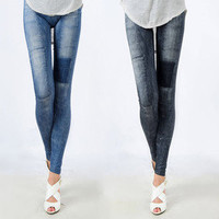 Classical Womens Stretch Skinny Jeggings Patch Denim Jeans-Look Leggings P033