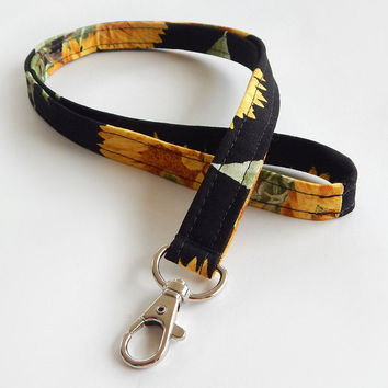 Sunflower Lanyard / Harvest / Autumn Keychain / Sunflowers / Yellow / Key Lanyard / ID Badge Holder / Fabric Lanyard / Floral Print / Black