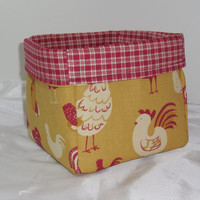 Fun Mustard and Maroon Rooster Fabric Basket