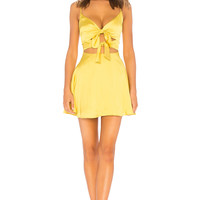 Lovers + Friends Nate Mini Dress in Chartreuse Green