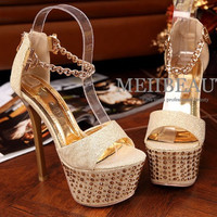 2016 fashion summer thick chain metal buckle high heels,sexy trend of gold diamond waterproof high-heeled women shoes
