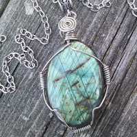 Large Labradorite Cabochon, Labradorite Pendant, Crystal Necklace,Wire Wrapped Labradorite,Gypsy necklace,Wiccan Pagan Crystal Jewelry, Larp