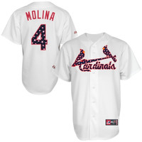 Yadier Molina St. Louis Cardinals Majestic Stars & Stripes Replica Jersey – White