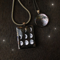 Moon Phases Necklace, Full Moon, metal, solder - I love you to the moon and back