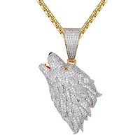 Growling Wolf Icy Gold Finish Hip Hop Pendant Free Box Chain