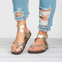 Lace Up Footbed Sandals - Gold