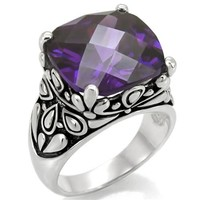 Amethyst CZ Ornate Stainless Steel Ring