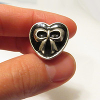 "4g 2g 0g 00g 7/16"" 1/2"" / Heart Bow Plugs Gauges Stretchers Earrings / Stretched Gauged Ears / Surgical Stainless Steel Tunnels"