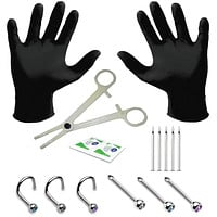 BodyJ4You 15PC Professional Piercing Kit 18G 20G Nose Rings Studs Stainless Steel Body Jewelry
