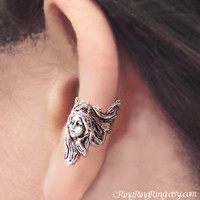Guardian Angel silver ear cuff earring - non pierced Earcuff jewelry for men and women 110912
