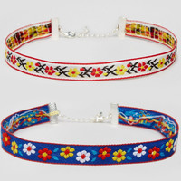 SET OF FLORAL CHOKERS