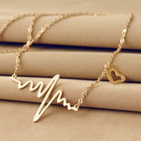 Gold Plated EKG Heart Necklace