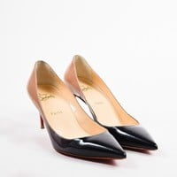HCXX ?Christian Louboutin Black Nude Patent Ombre   Decoltissimo Degrade   Heels