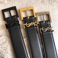 Saint Laurent YSL Black Leather belt 30MM