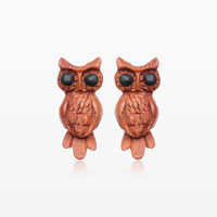 A Pair of Midnight Owl Handcarved Earring Stud