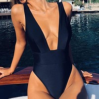 Halter Bikini Deep V-Neck Bathing Suit Women Sexy Swimsuit One Piece Bodysuits Bikini
