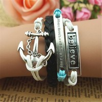 MagicPieces Believe Anchor Arrow and Charms 5 Layers Black Blue and White Handmade MultiLayered Bracelet For Women's Teens Friendship Birthday Gift