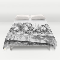 Vintage Alice in Wonderland Mad Hatter & rabbit tea party antique goth emo book gothic drawing print Duvet Cover by IGallery