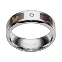 Diamond Accent Stainless Steel Camouflage Stripe Wedding Band - Men (Brown)