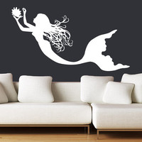 Wall Decal Vinyl Sticker Decals Art Decor Design Mermaid Heir Beauty Sea Animal Water Nymph Nature Fish Nursery Kids Children Bedroom(r780)