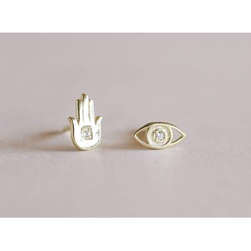 Hamsa Hand & Eye Earrings