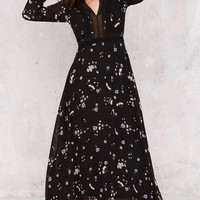 V-Neck Long-Sleeved Print Dress Female Waist 11518