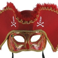 Venetian Male Masquerade Pirate Hat Mask (Red and Gold)