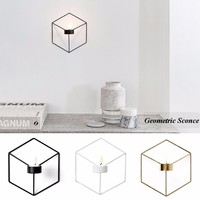 Simple Style Minimalist Home Ornaments Wall Tealight 3D Steel Candlestick Candle Holder
