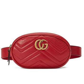 GG Women's Personality Trend Quality Leather Pocket Breast Bag Mini Round Bag F