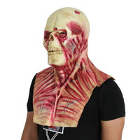 Latex Bloody Scary Muscle Zoombie with chest Adult Costume Prop Skull Mask for Halloween