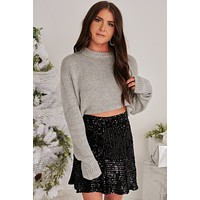 Darling Delight Knit Sweater (Heather Gray)