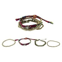 Women's Four Piece Woven/Stretch Friendship Bracelets with Seed Beads and Chain - Gold/Multicolor
