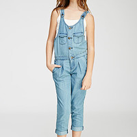 Pleated Button-Front Overalls (Kids)