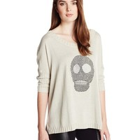 Chaser Women's Skull Hi Lo Boxy Pullover Sweater