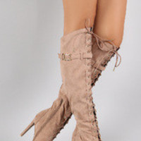 Women's Qupid Faux Suede Lace Up Peep Toe Stiletto Thigh High Boot