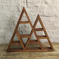 Wooden Rustic Triangle Mountain Display Shelf -- Medium Size