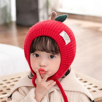 Winter Children's Hat Pure Color Fresh Lace Baby Knitted Hat Ear Protection Baby Hat Cute Girl Baby Boomer