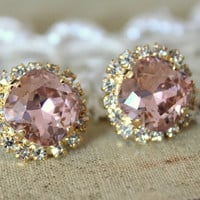 Crystal stud big vintage pink earring - 14k plated gold post earrings real swarovski rhinestones .