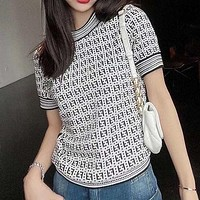 FENDI new double F letter jacquard temperament all-match round neck T shirt ice silk small shirt knitted thin top