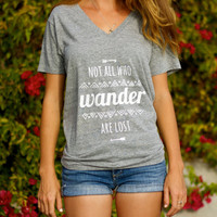 Not All Who Wander Are Lost // Aztec Tribal Pattern Print // Women's Typographic V Neck Tee (Clarafornia Co. )
