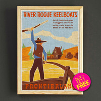 Vintage Disneyland Print Frontierland River Rogue Keelboats Poster House Wear Wall Decor Gift Linen Print - Buy 2 Get 1 FREE - 344s2g