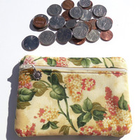 Change Purse, Hydrangea  Blossom Floral Print Cosmetic storage pouch, Floral Makeup Bag, Zipped Cosmetic Bag