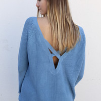 Blue Cross-Back Knit Sweater