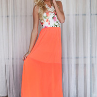 Roses and Neon Maxi Dress